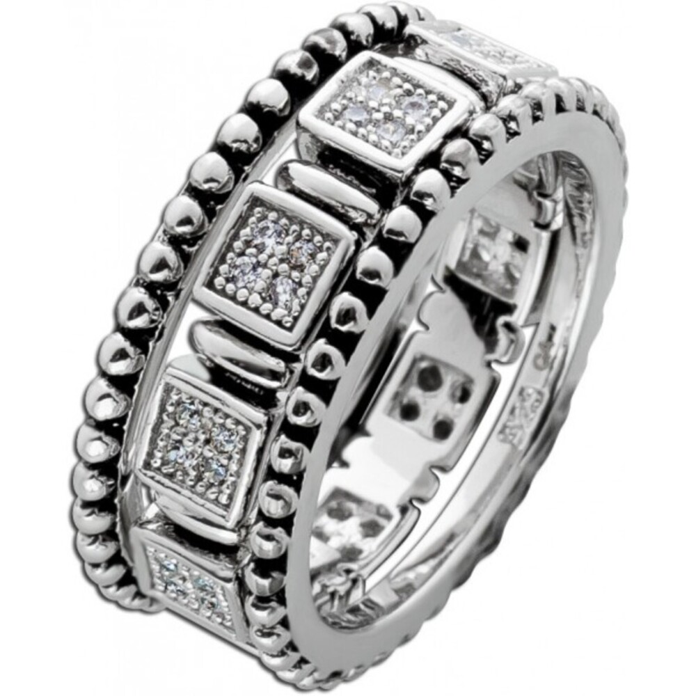 Ring Set 3 teilig weißen Zirkonia Silber 925 teils geschwärzt 1