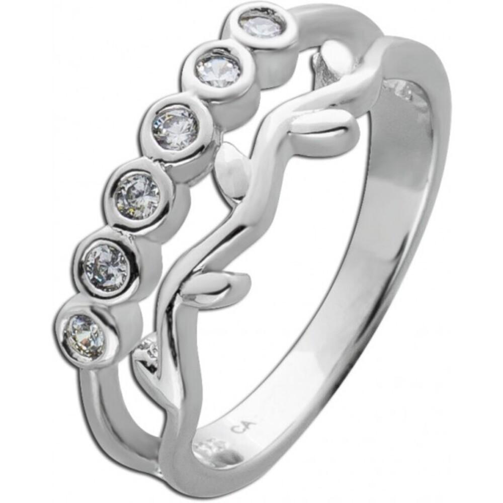 Weißer Zirkonia Ring Silber 925 Damenring 1