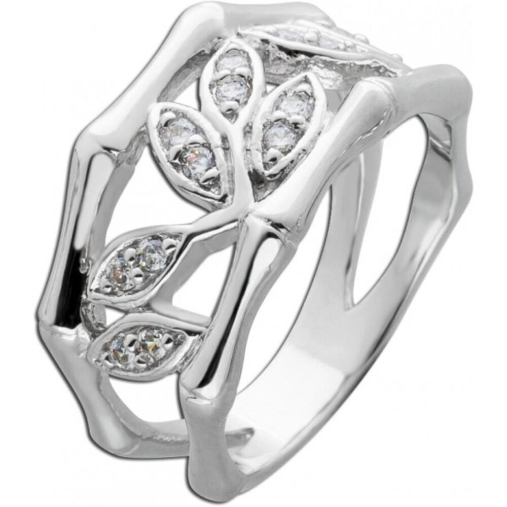 Weißer Zirkonia Ring Blatt Muster Silber 925 Damenring 1