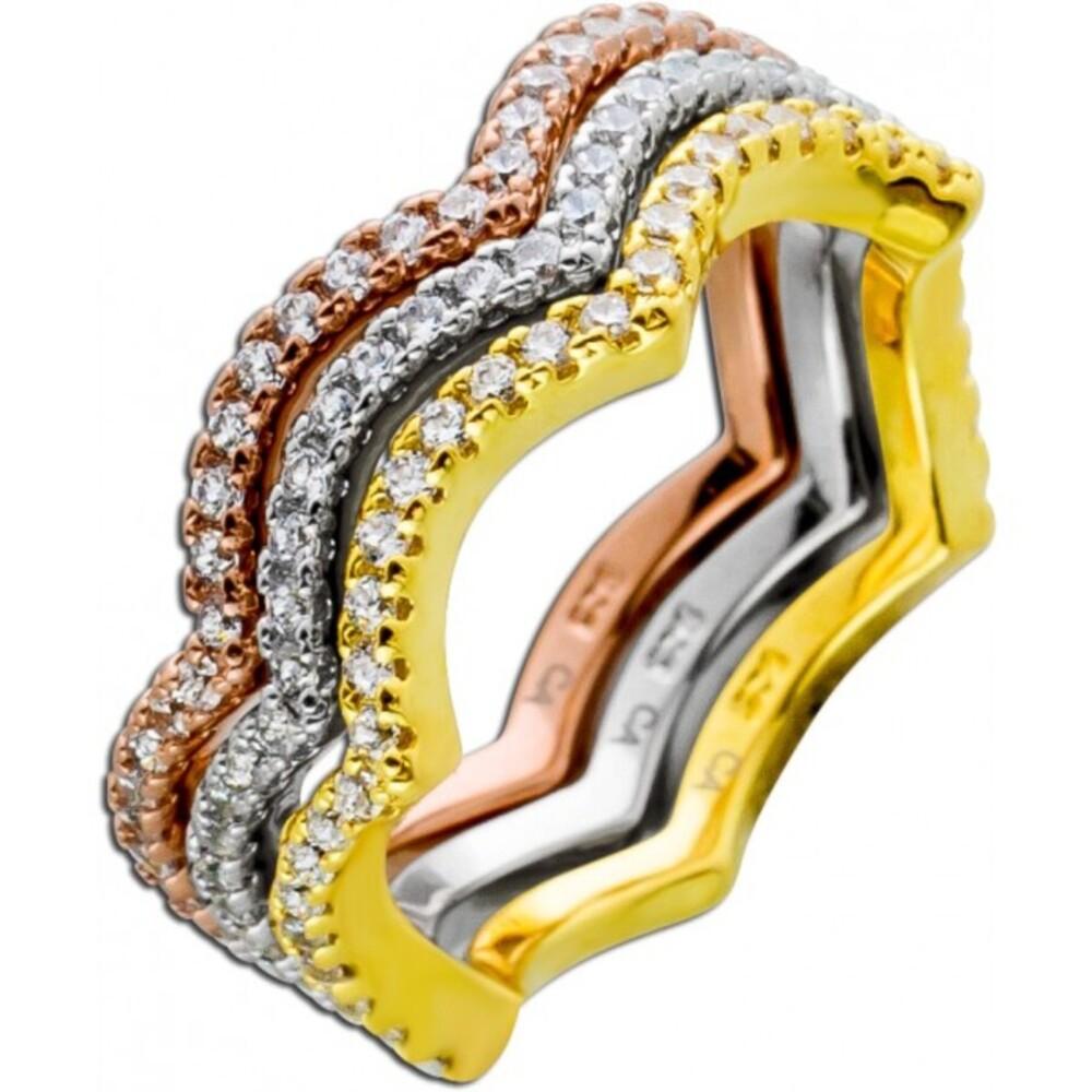Ring Set 3-teilig weißen Zirkonia vergoldet rose vergoldet Silber 925  1