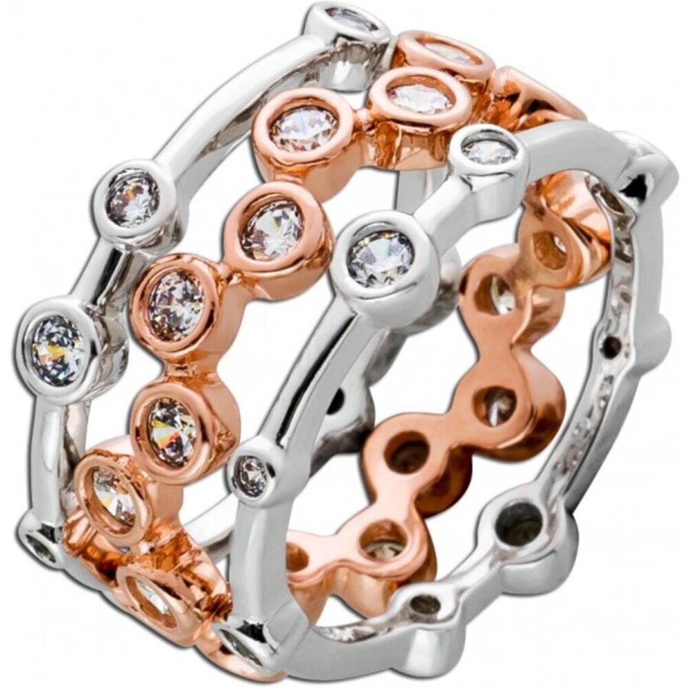 3-teiliges Ring Set weißen Zirkonia Silber 925 rhodiniert rose vergoldet 1