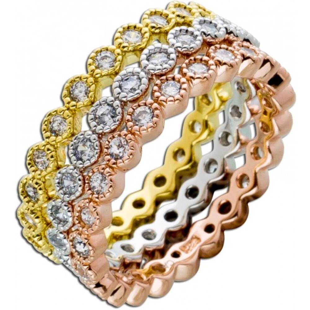 3-teiliges Ring Set weißen Zirkonia Silber 925 tricolor 1