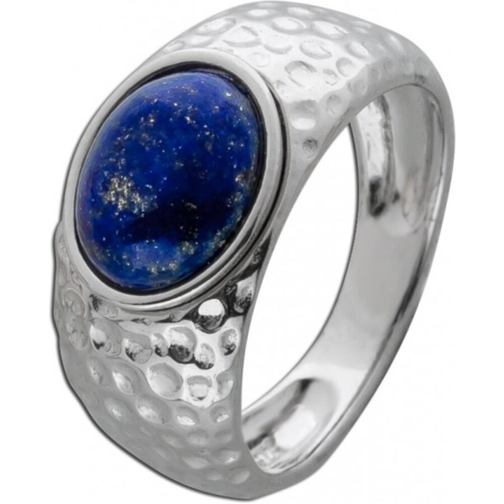 Blauer Edelstein Ring Silber 925 Lapislazuli gehämmert  Damen _01