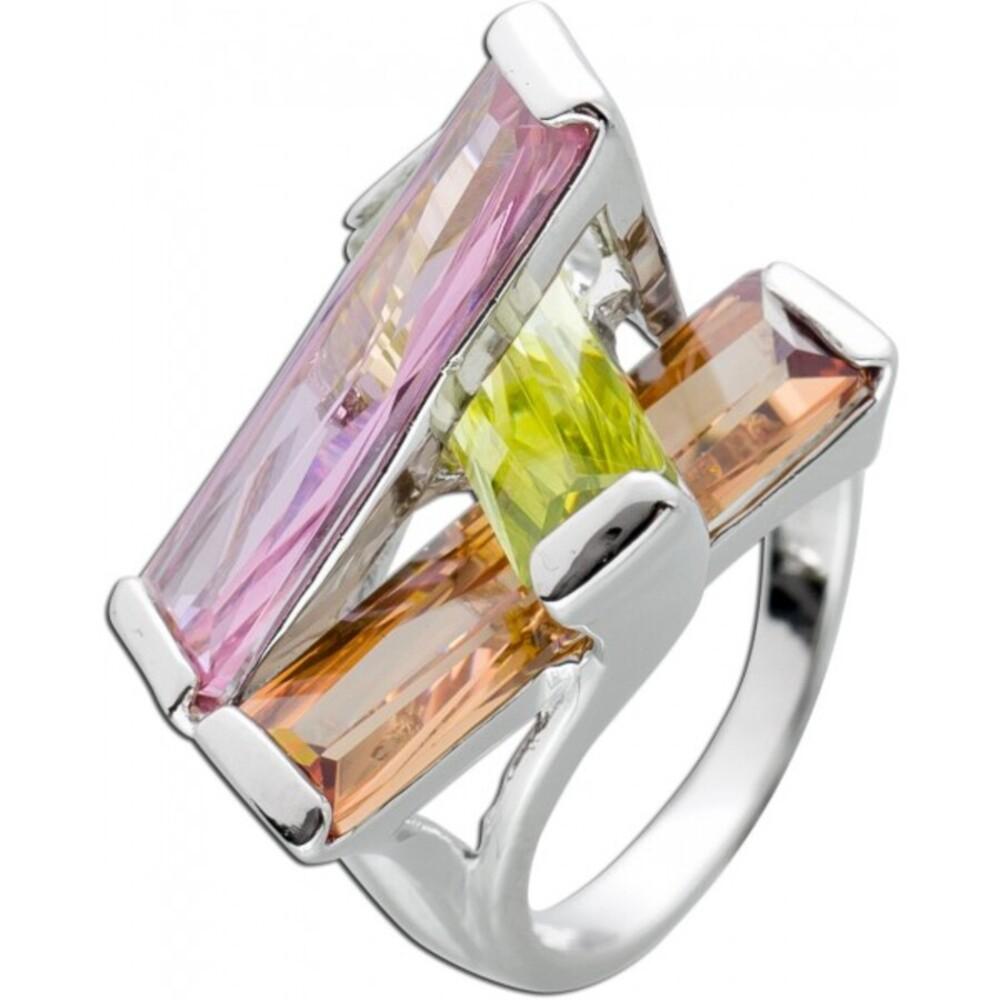 Bunter Zirkonia Ring Silber 925 pink grün braun Zirkonia Damenschmuck