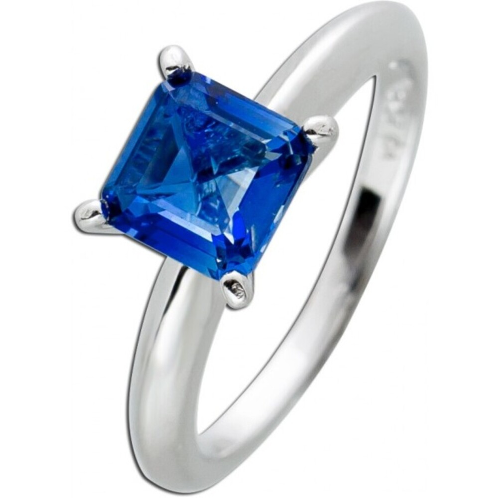 Quadratischer Zirkonia Ring hell dunkelblau Silber 925 Zirkonia Damenschmuck