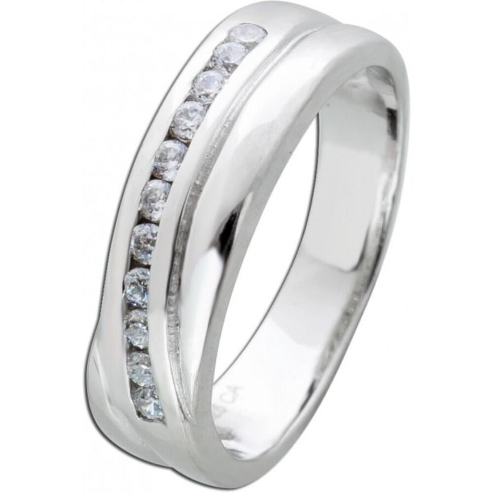Weißer Zirkonia Ring Silber 925 Zirkonia Schmuck Damenring