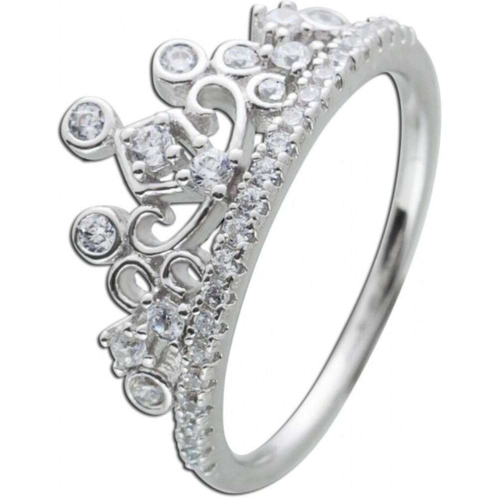Kronen Ring weißen Zirkonia Silber 925 Zirkonia Schmuck Damenring
