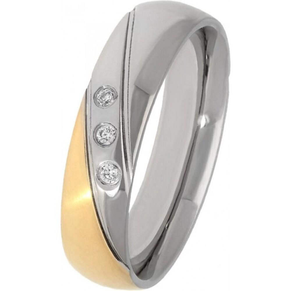 Ring Titania 27157 Bicolor Titan teils IP vergoldet Zirkona 16-20mm