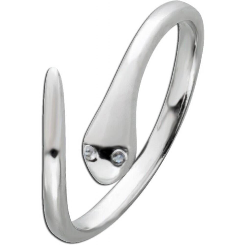 Schlangenring weißen Zirkonia Silber 925 Zirkoniaschmuck Damenring 1