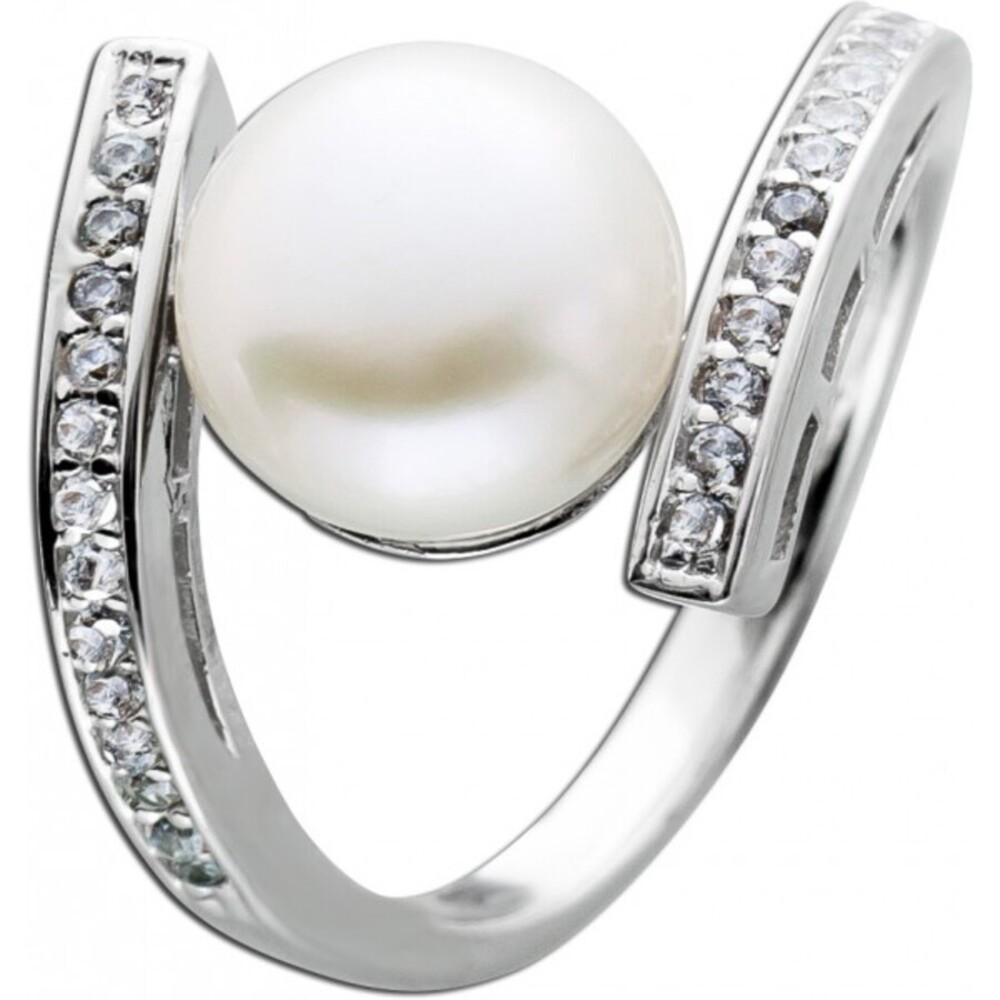 Weißer Süsswasserzuchtperlen Ring Silber 925 29 Zirkonia Damenring  1