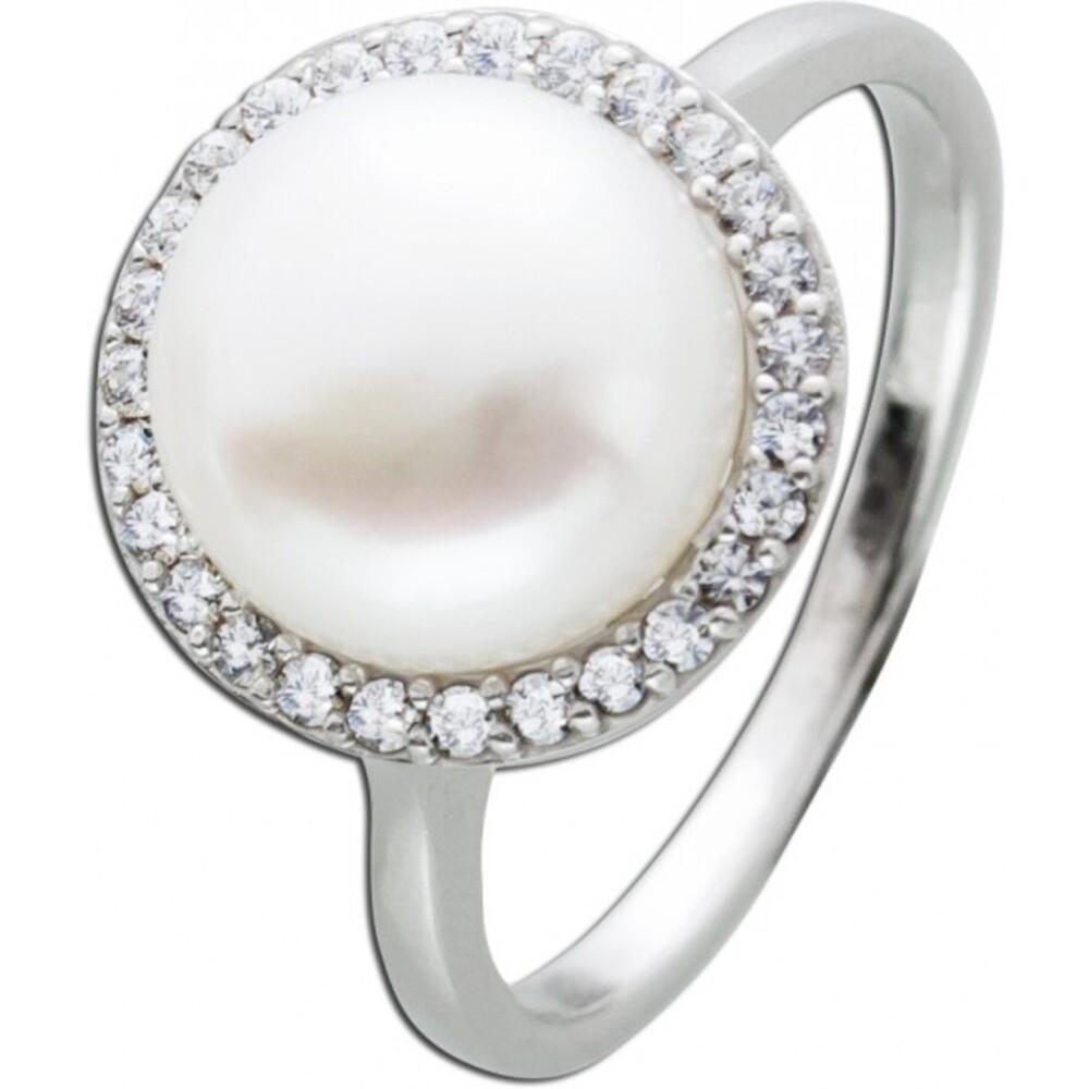 Perlenring weißer Süsswasserperle Ring Silber 925 Zirkoniaschmuck  1