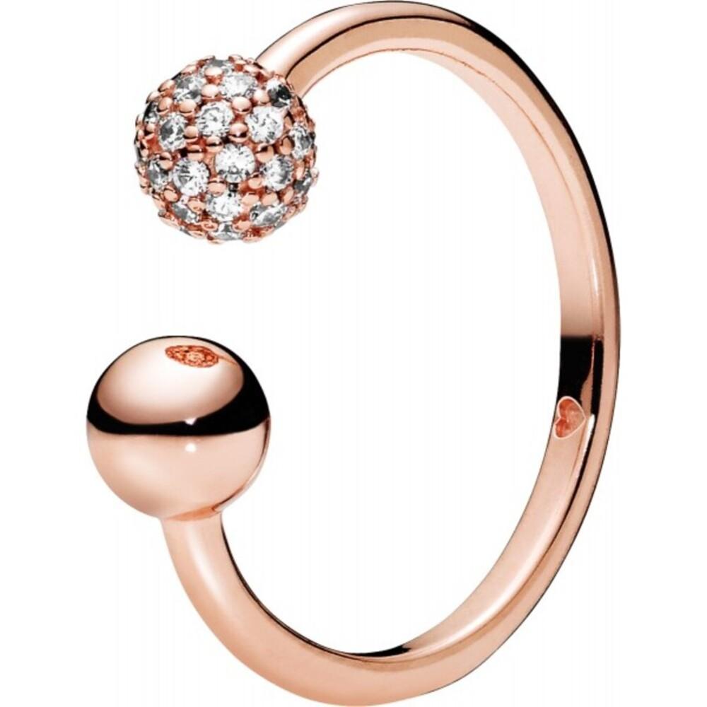 PANDORA Ring 188316CZ Polished Pave Bead ROSE Metall Vorsteckring  Zirkonia