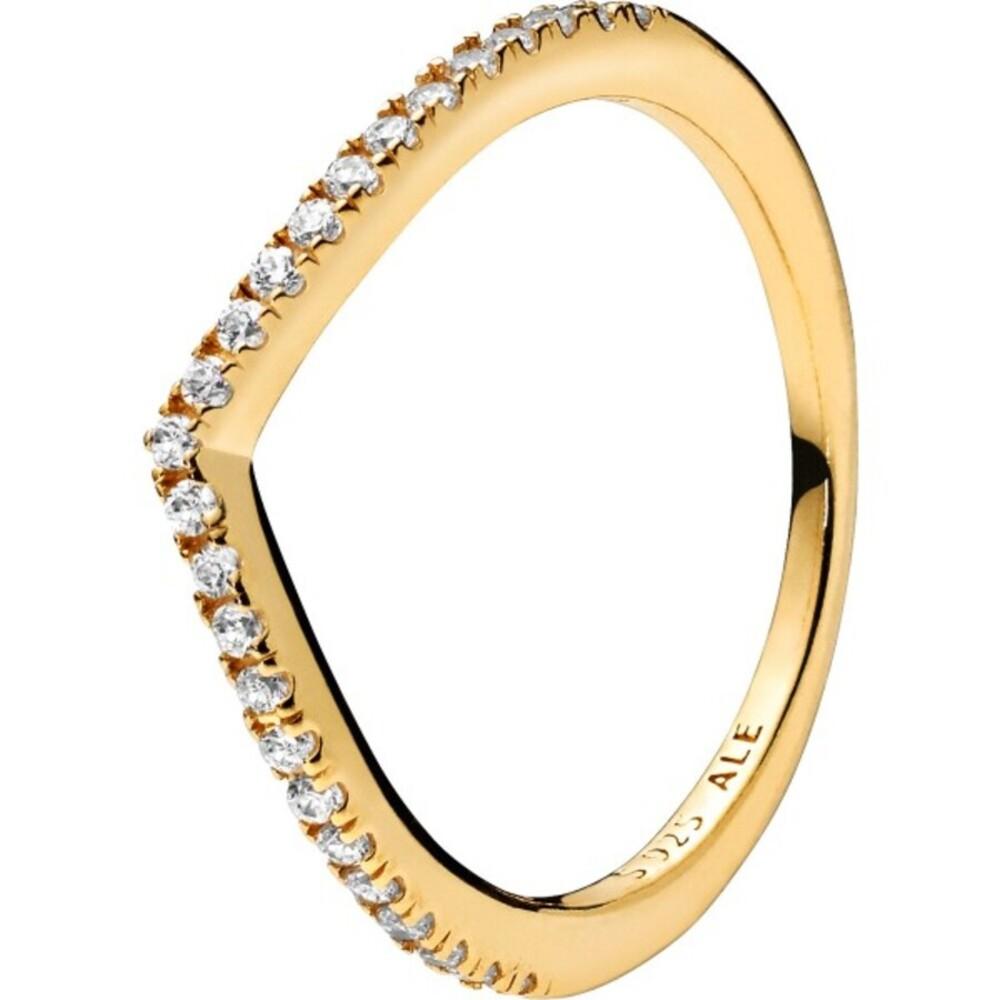 PANDORA Ring 168758C01 Sparkling Wishbone SHINE Sterling Metall 18kt Zirkonia Vorsteckring  166316CZ