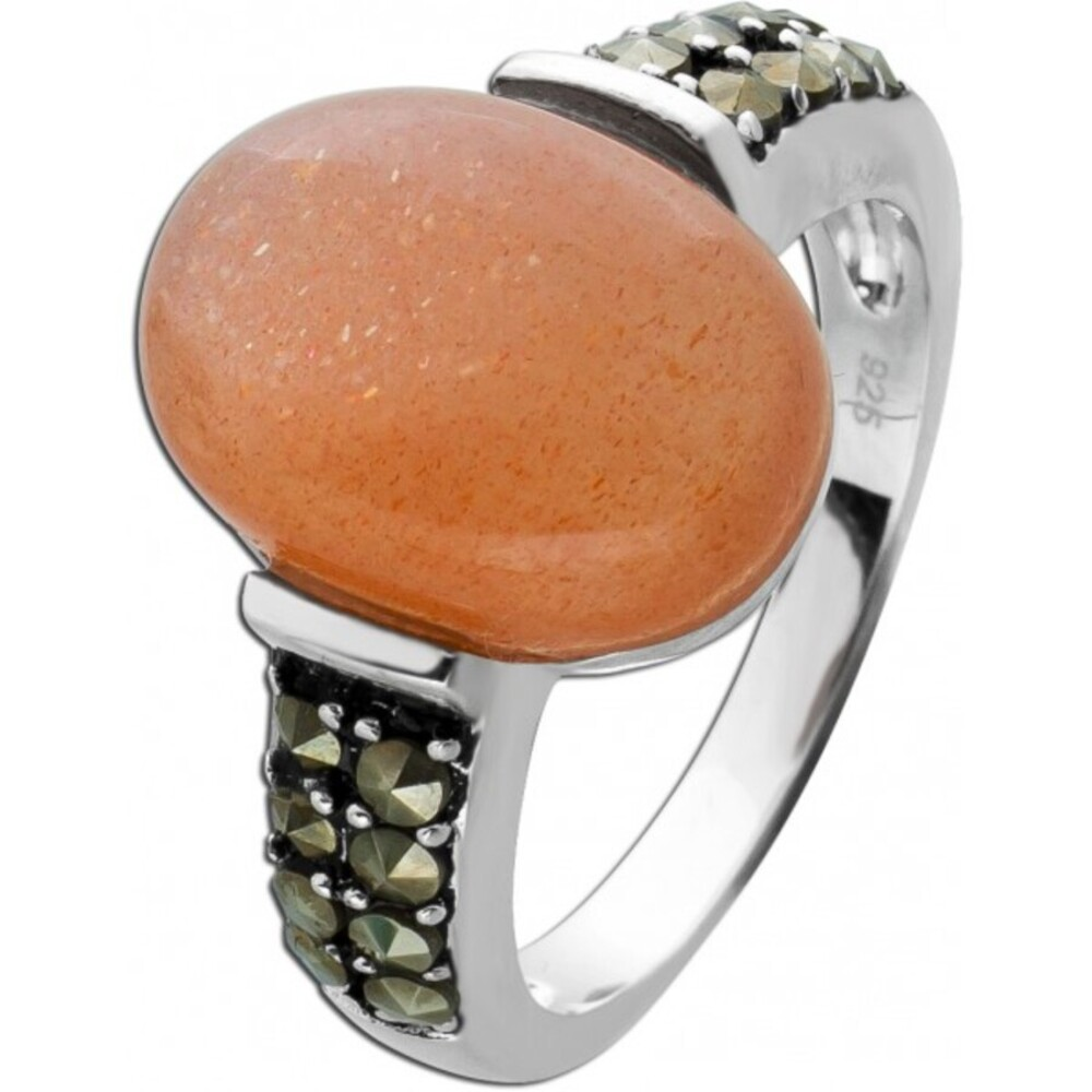 Ring pink ovalen Mondstein Silber 925  Markasit Steinen Edelsteinschmuck 1