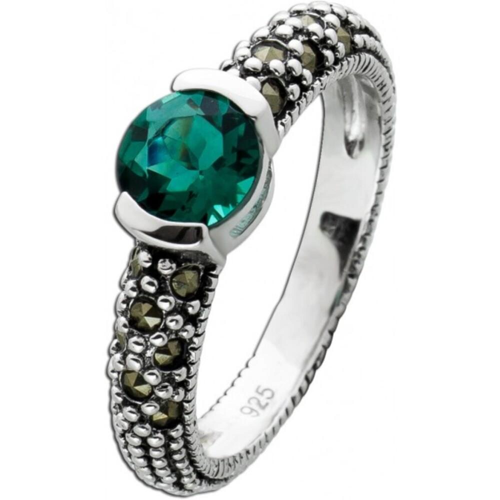 Ring Quarz grün Silber 925 Markasit Steinen Damenschmuck 1