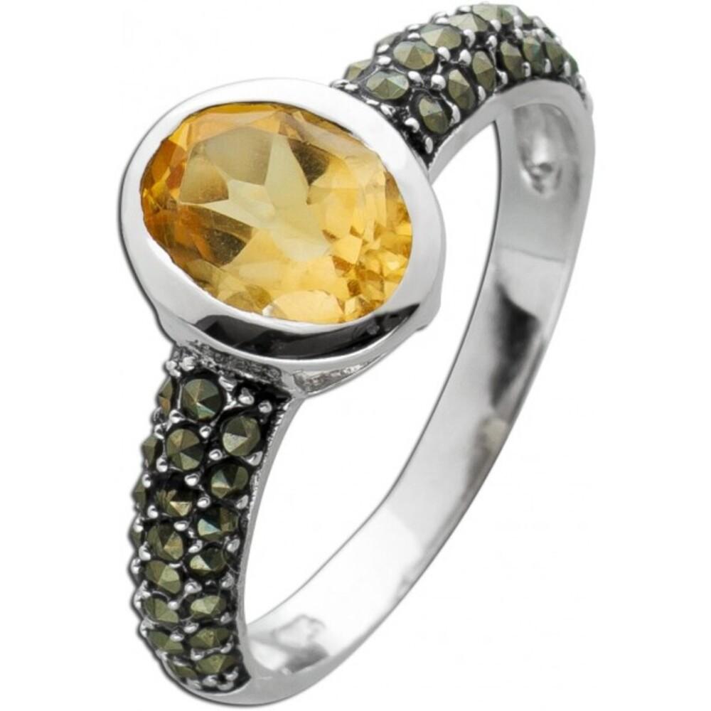 Ring Citrin oval gelb Silber 925 Markasit Steinen Damenschmuck 1