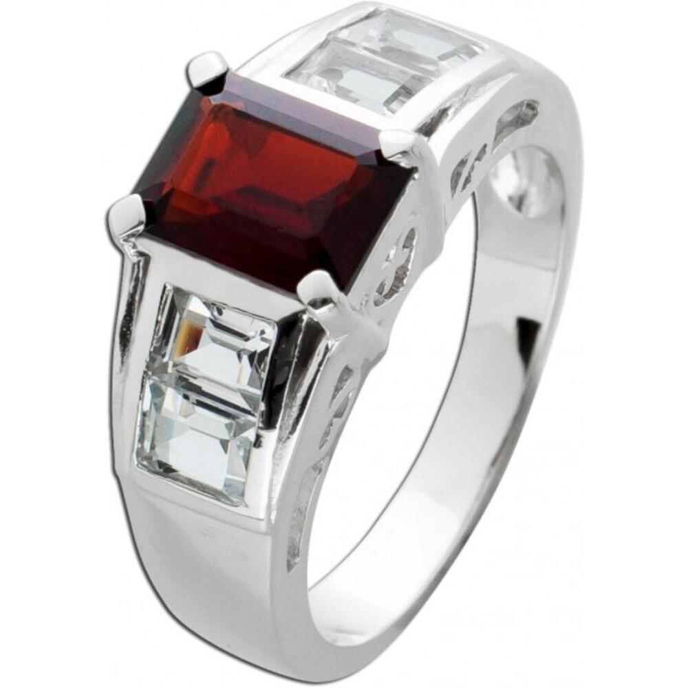 Ring roten Granat Silber 925 weißen Topasen Edelsteinring  1