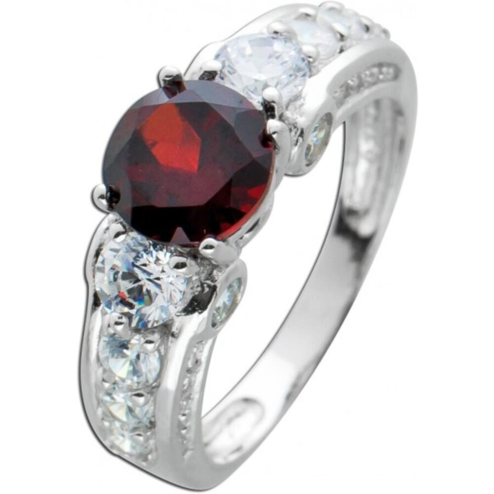 Ring roten Granat Silber 925 weißen Zirkonia Edelsteinschmuck 1