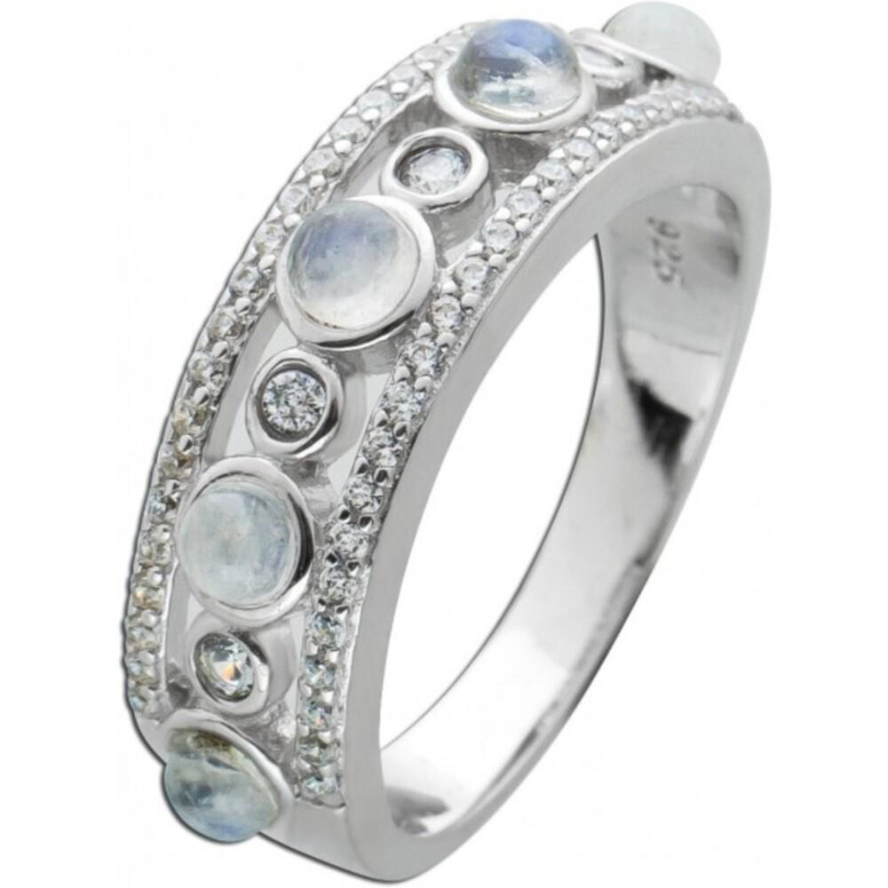 Ring Regenbogen Mondstein Silber  925 weißen Zirkonia Edelsteinschmuck 1