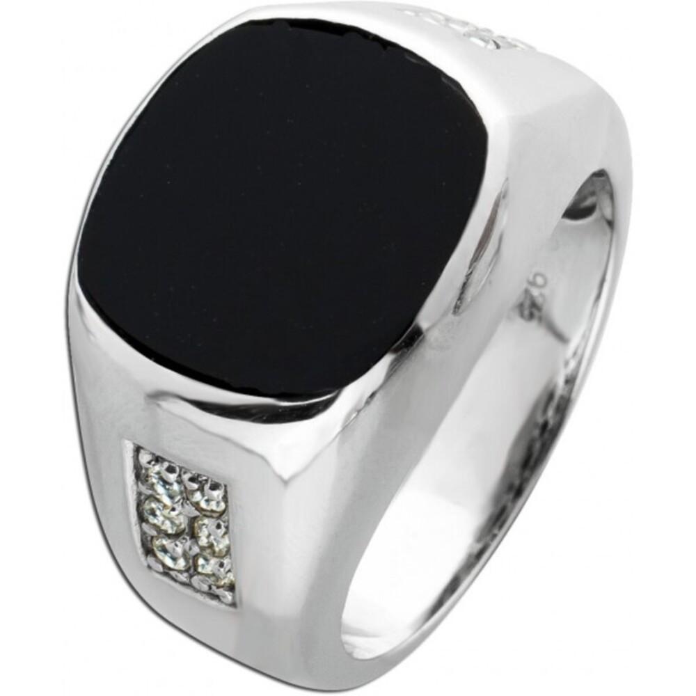 Unisex Ring Onyxplatte schwarz Silber 925 weißen Zirkonia  1