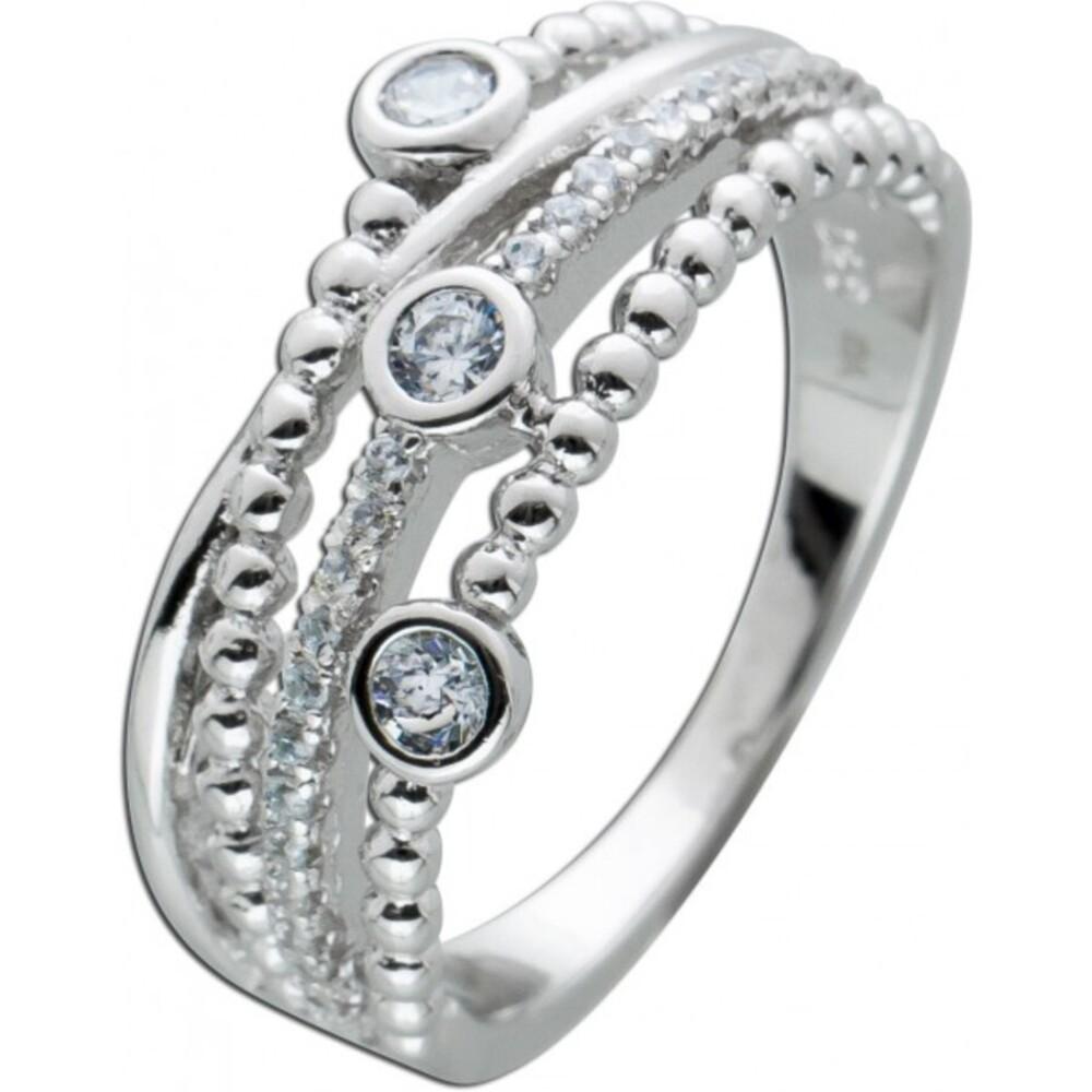 Verschlungener Ring weißen Zirkonia Silber 925 Damen Ring  1