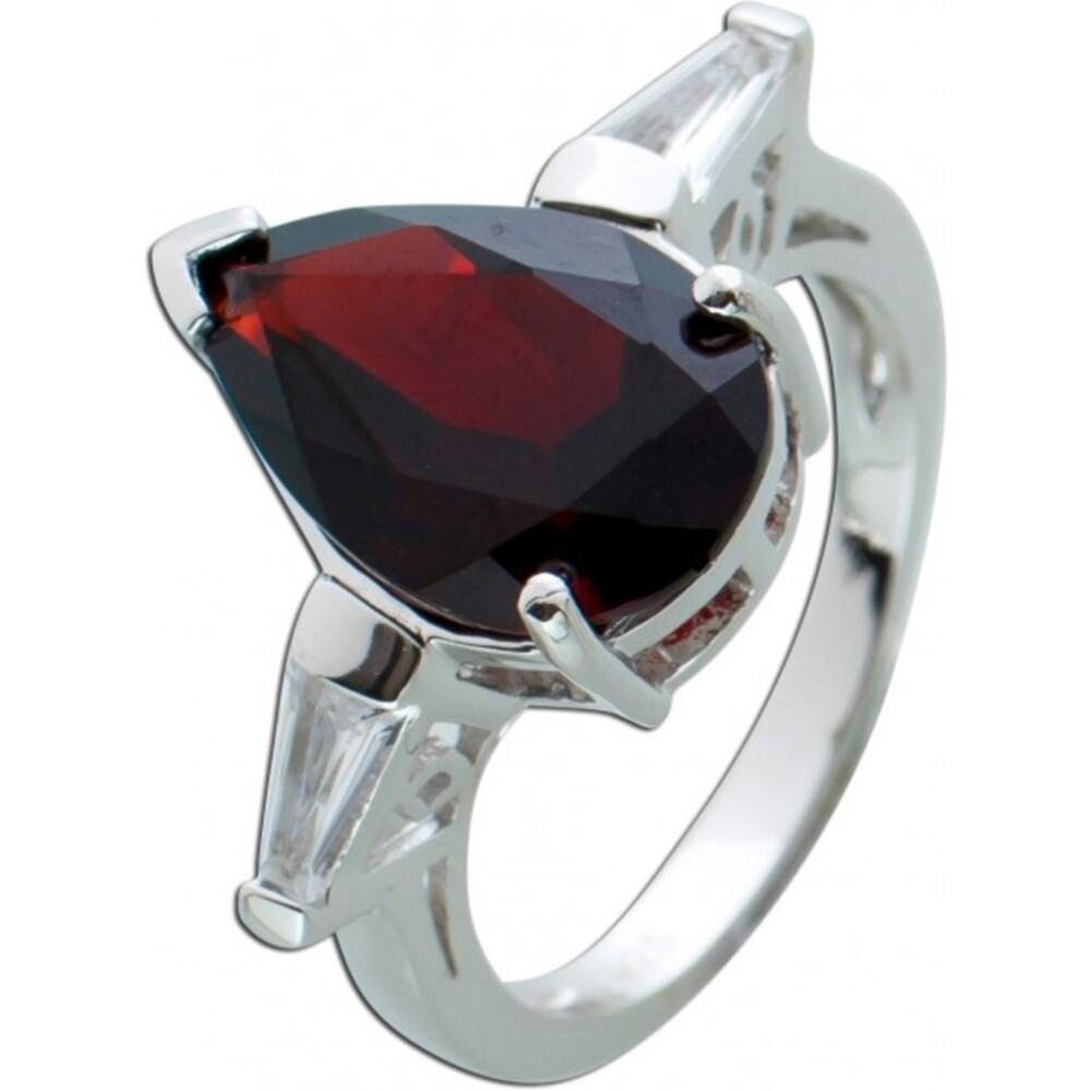 Edelstein Ring roten Granat Silber 925 weißen Topasen 1