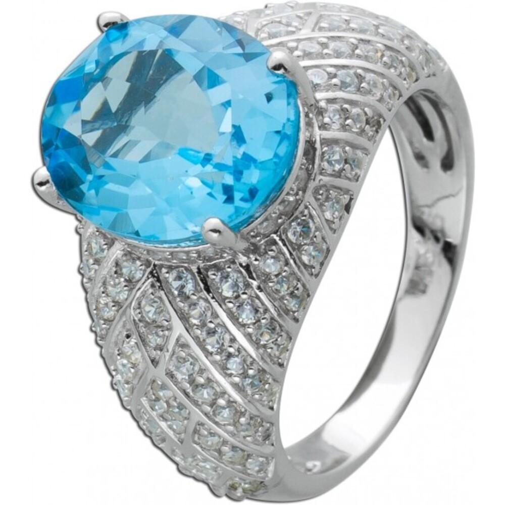 Ring Blautopas Silber 925 Edelstein Ring  weißen Zirkonia  1