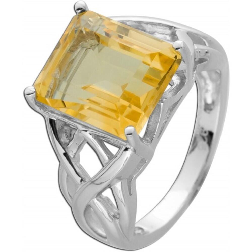 Verspielter Ring gelben Citrin Silber 925 Edelsteinschmuck 1