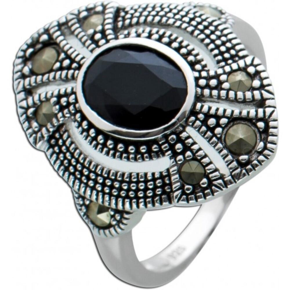 Schwarzer Spinell Ring Silber 925 Markasit Steinen Edelsteinschmuck 1