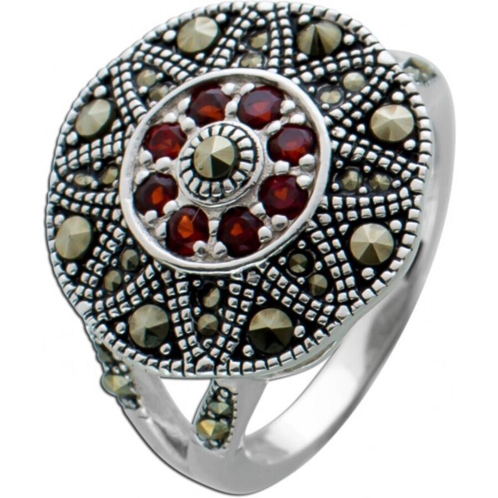 Roter Granat Ring Silber 925 Markasit Steinen Edelsteinschmuck  1