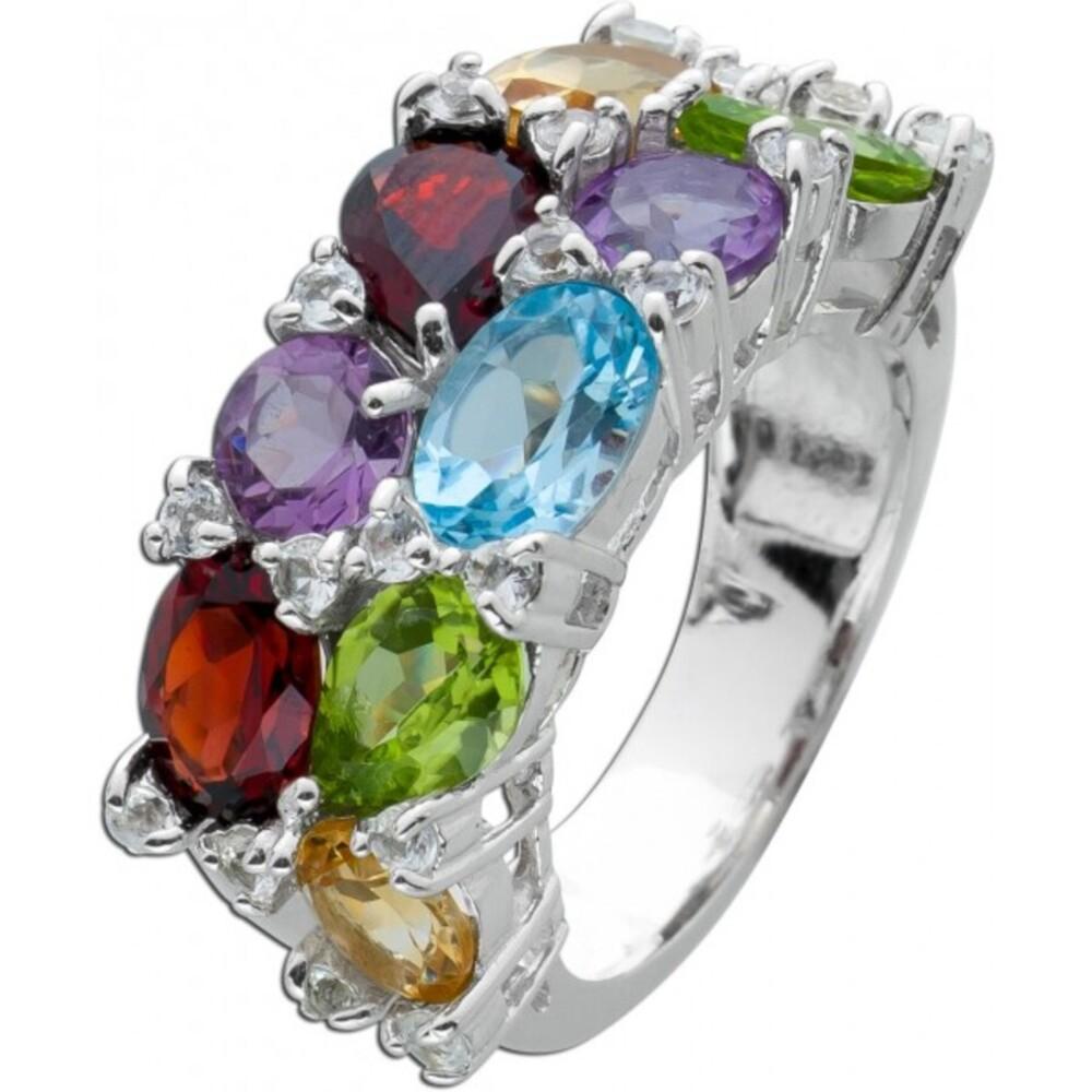 Bunter Edelstein Ring Silber 925 weißen Zirkonia Steinen 1