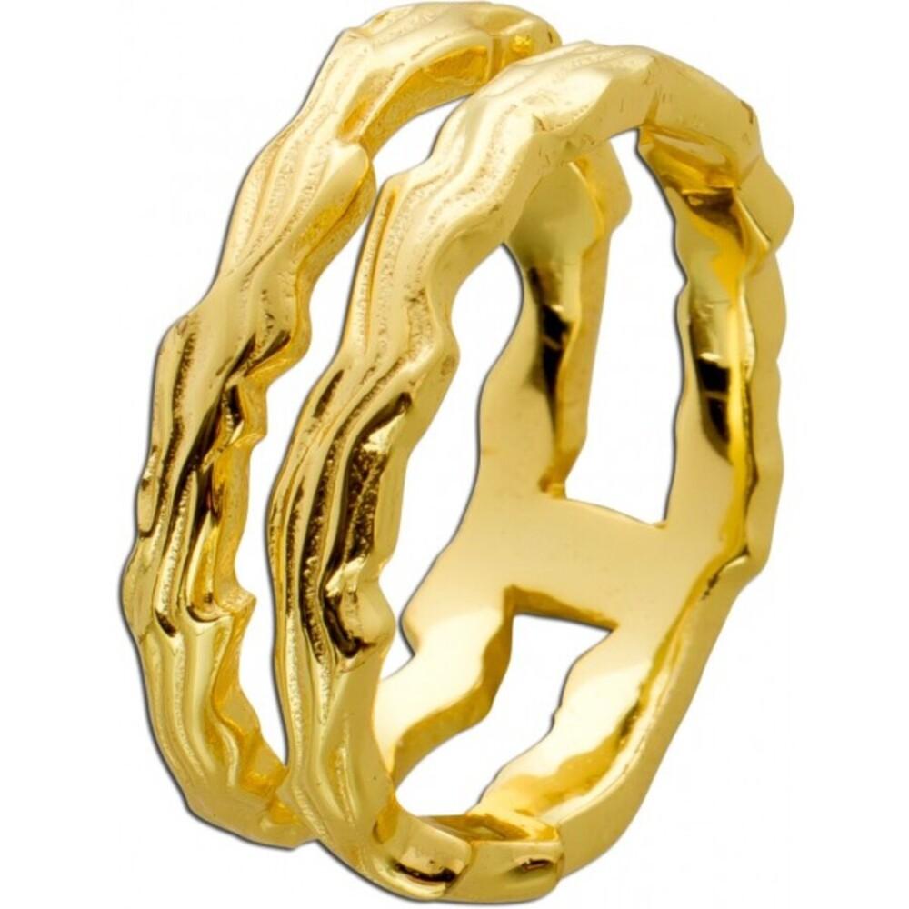 Offener Ring Toyo-Yamamoto Edelstahl  gelb vergoldet massiv poliert 17-20mm T-Y_01