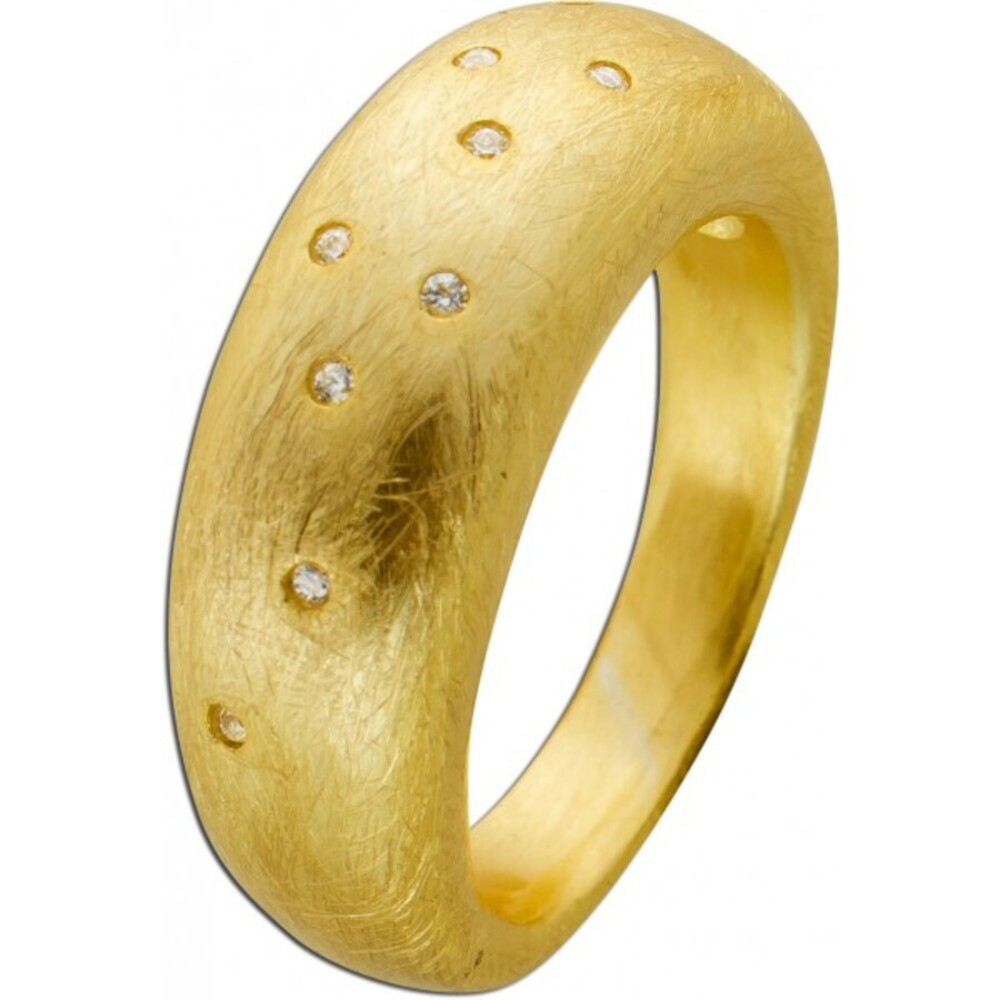 T-Y Toyo Yamamoto Zirkonia Edelstahl Ring gelb vergoldet mattiert 17-20mm_0
