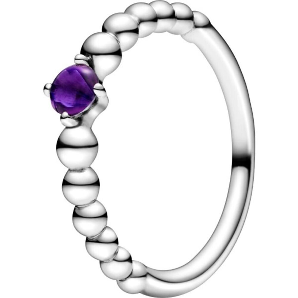 Pandora Ring 198867C03 Purple Beaded violetter Kristall Silber 925 Kugel Optik