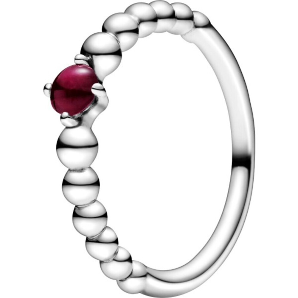 Pandora Ring 198867C08 Dark Red Beaded dunkel roter Kristall Silber 925 Kugel Design