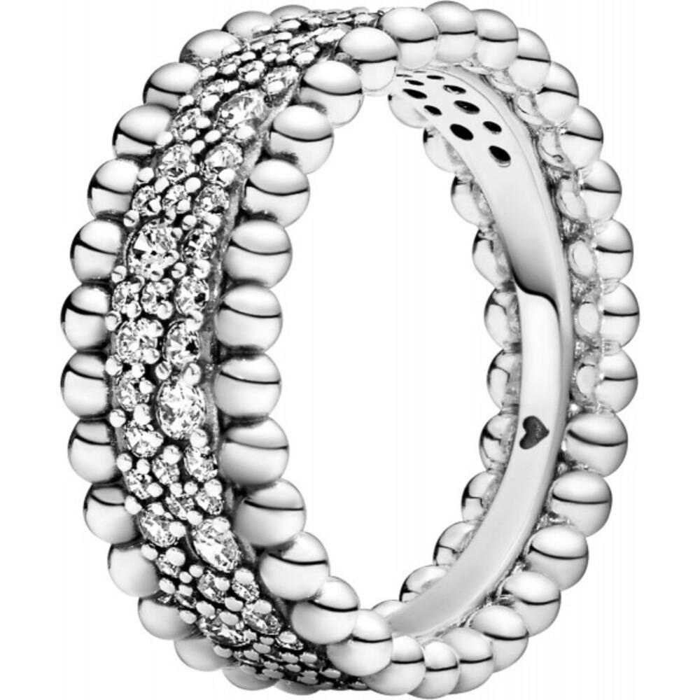 Pandora Ring 198676C01 Beaded Pave Band Silber 925 klare Zirkonia