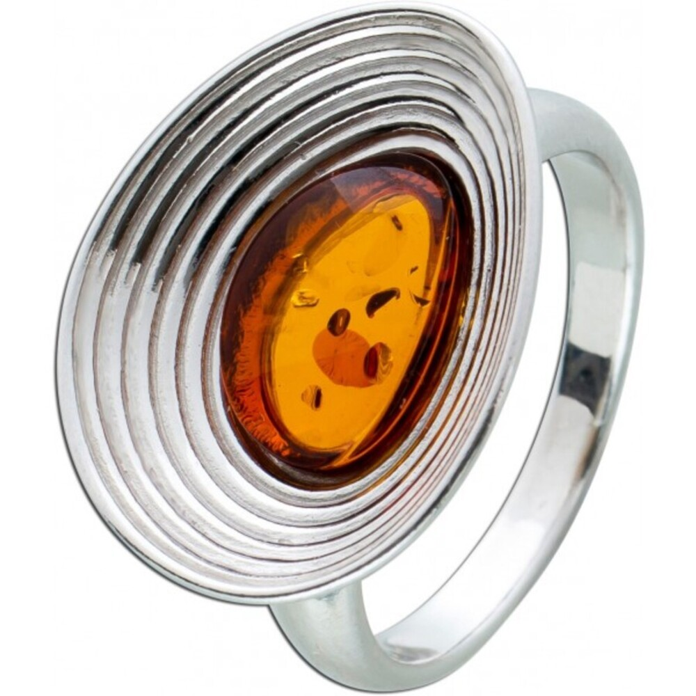 Brauner EdelsteinRing Sterling Silber 925 ovaler Bernstein Cabochon cognacfarben 17-20mm