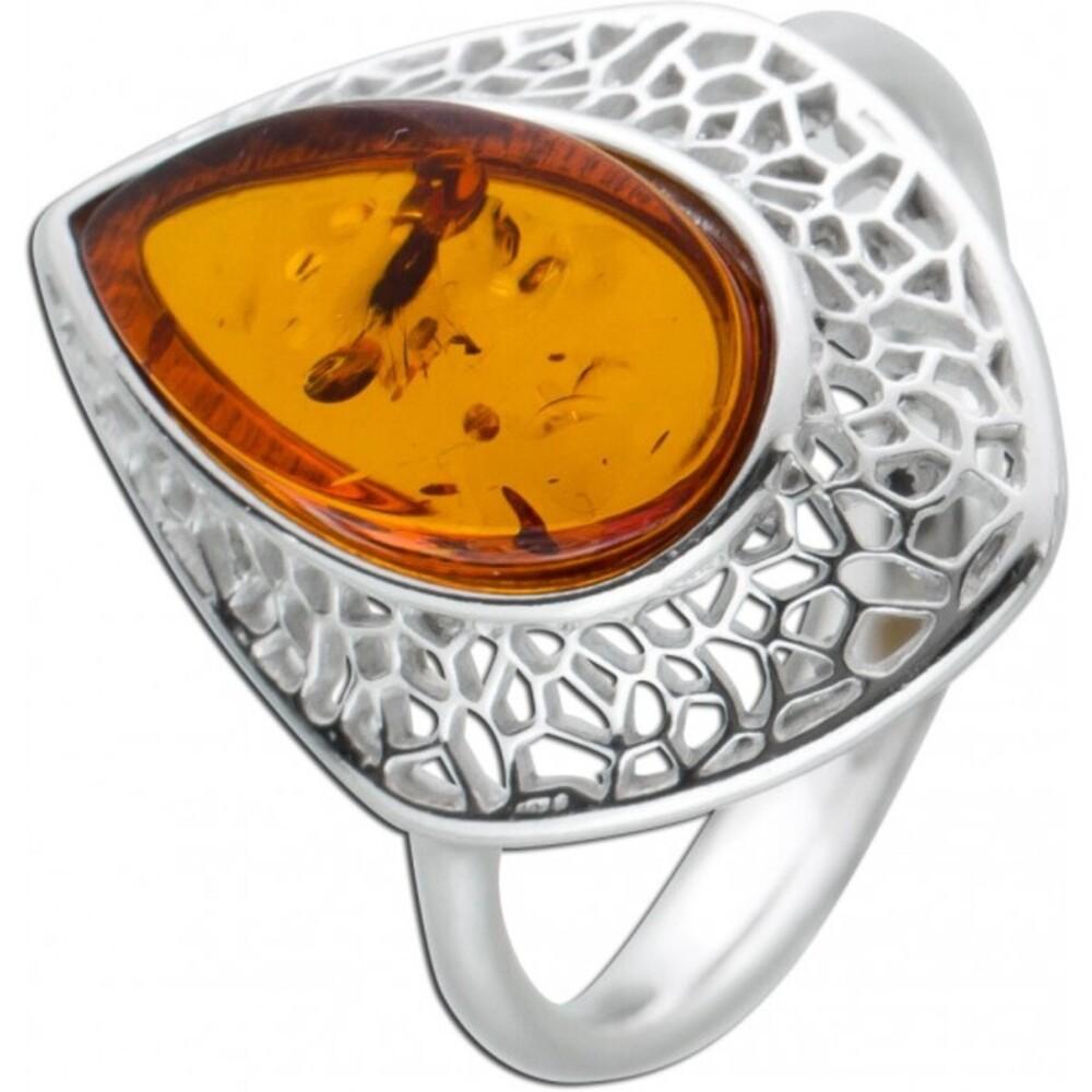 Edelstein Ring Sterling Silber 925 Bernstein Cabochon cognacfarben 17-20mm