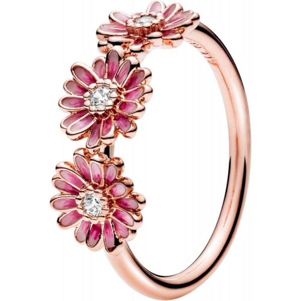 Pandora Garden Ring 188792C01 Pink Daisy Flower Trio Non Stackable Rose Klare Zirkonia Pink Emaille