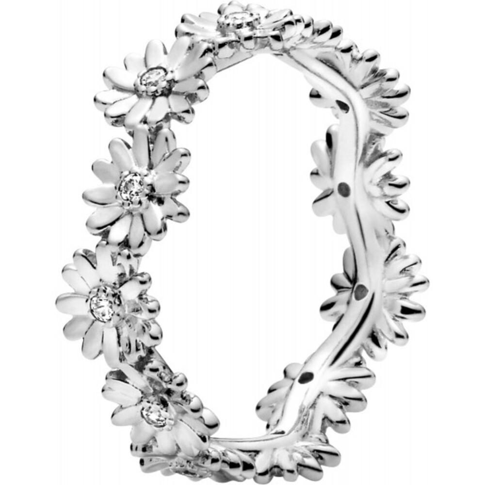 Pandora Garden Ring 198799C01 Sparkling Daisy Flower Crown Stackable Silber 925 Klare Zirkonia