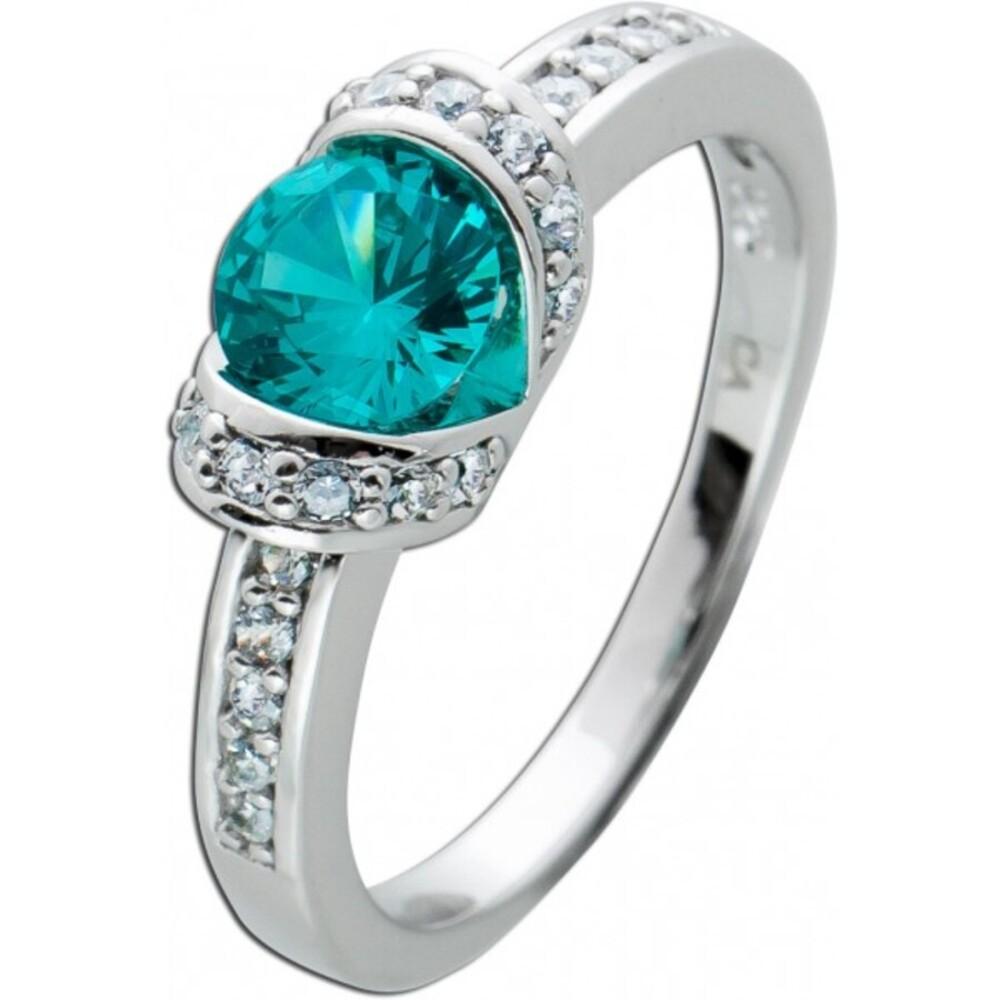 Zirkonia Ring blau tükisfarbenen Zirkonia Silber 925 weißen Zirkonia  1