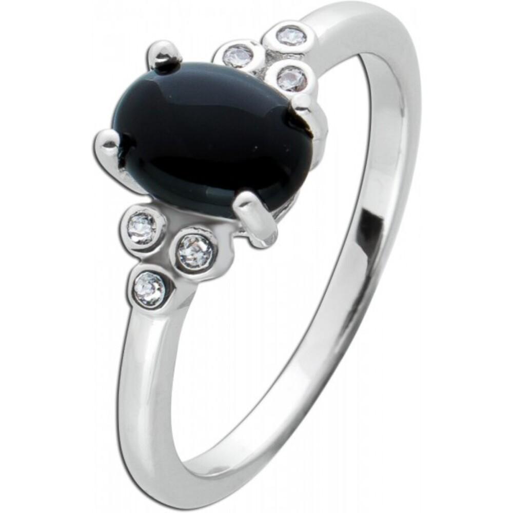 Edelstein Ring schwarzen Onyx Silber 925 weißen Zirkonia  1