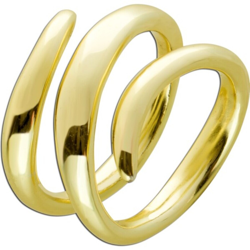 Vivien Lee Damen Ring Schlangen Design Edelstahl vergoldet 17-20mm poliert