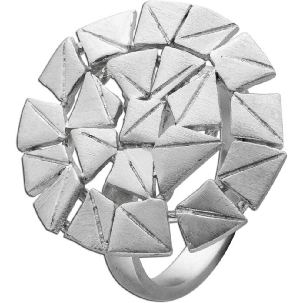 Mattierter Designer Damen Ring Vicien Lee Edelstahl Lapponia Look 17-20mm