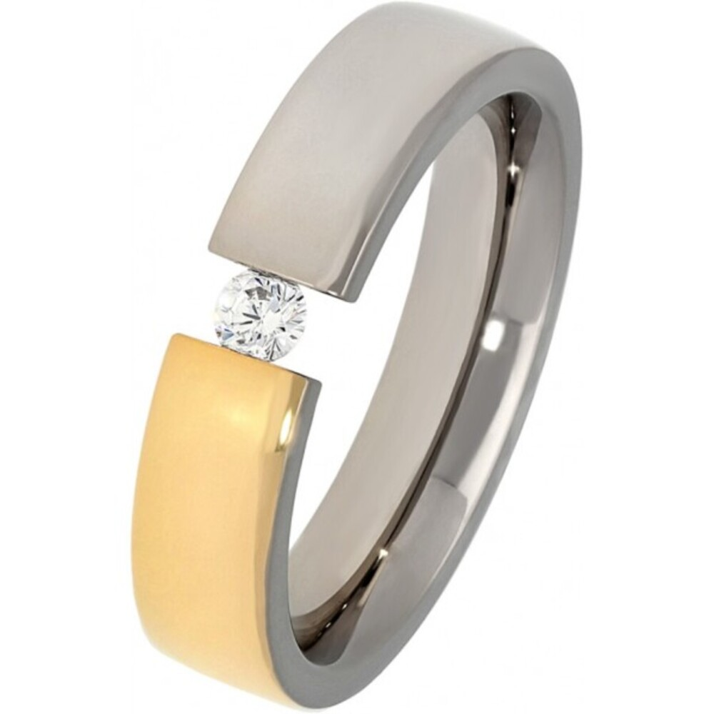 Titania Ring 30406 Bicolor Titan Teils IP Vergoldet Klare Zirkonia Poliert