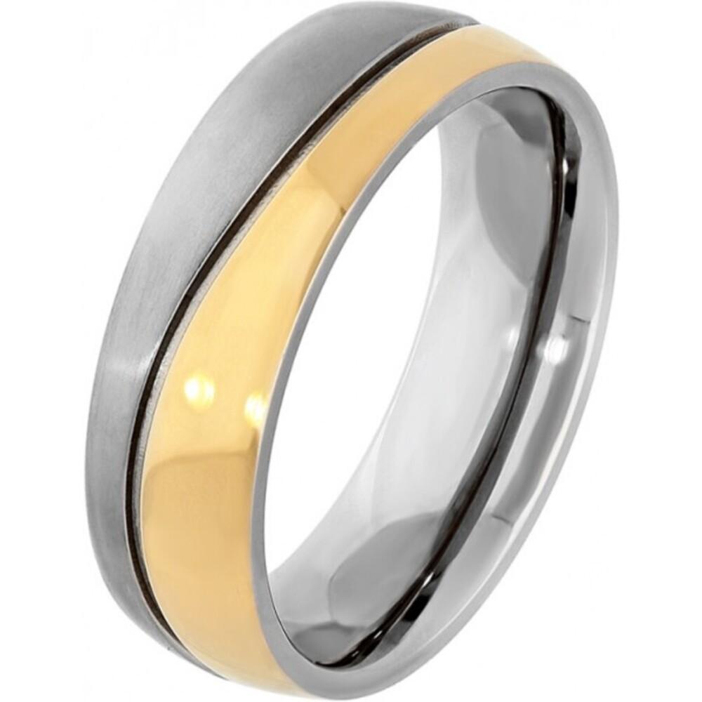 Titania Ring 29890 Bicolor Titan Teils IP Vergoldet Mattiert Poliert