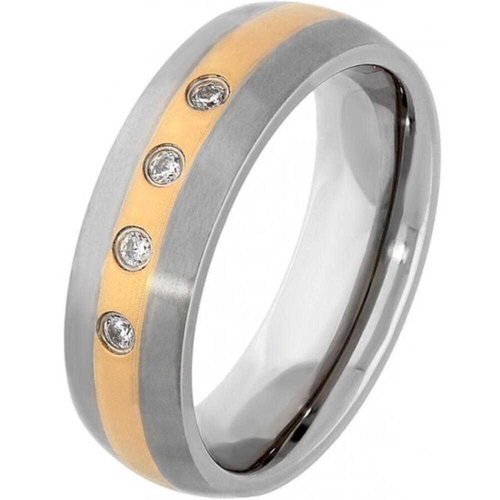 Titania Ring 29895 Bicolor Titan Teils IP vergoldet Klare Zirkonia