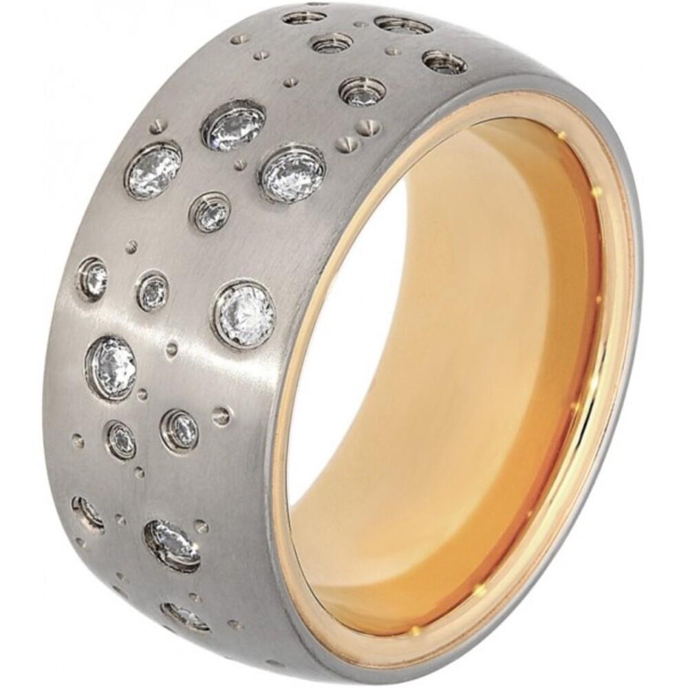 Titania Ring 30013 Bicolor Titan Teils IP Vergoldet Klare Zirkonia Satiniert