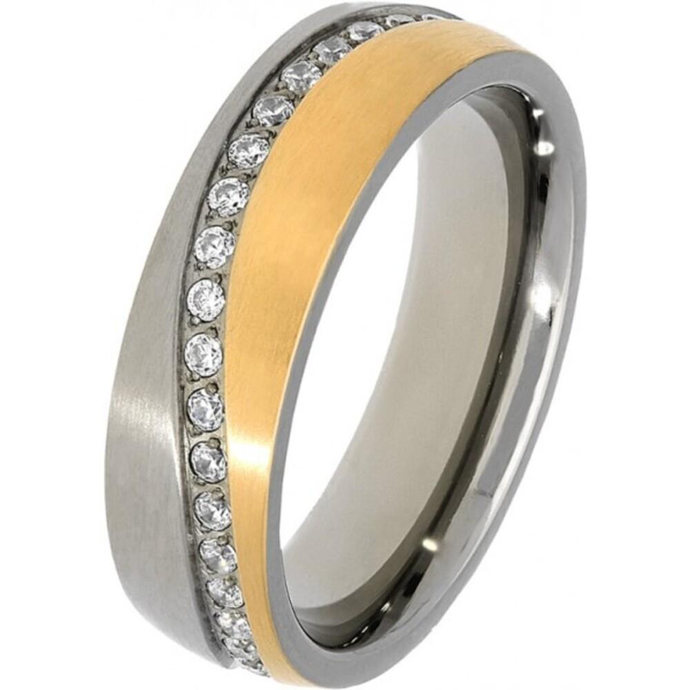 Titania Ring 30031 Bicolor Titan Teils IP Vergoldet Klare Zirkonia Satiniert