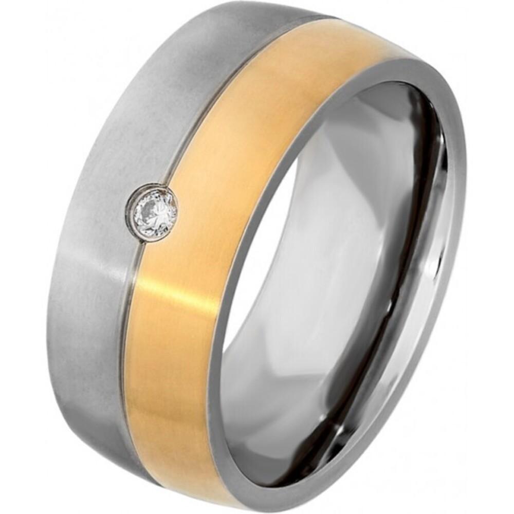 Titania Ring 29920 Bicolor Titan Teils IP Vergoldet Klare Zirkonia Mattiert